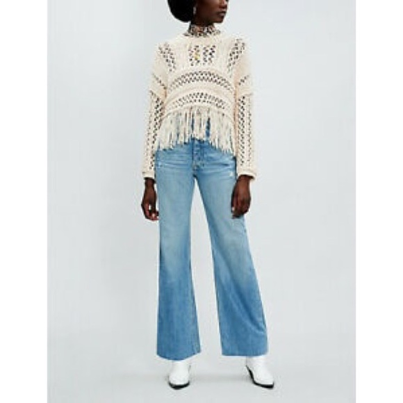 Free People Higher Love Cropped Fringed Sweater